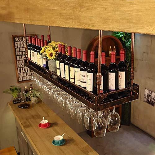 Estante De Vino Para Colgar Al Revés Fácil / Estante De Vino Soporte Decorativo Para Cristalería De Techo, Estante Para Bares, Restaurantes, Cocinas (60/80/100 / 120Cm) (Color: Negro, Tamaño: 120 *