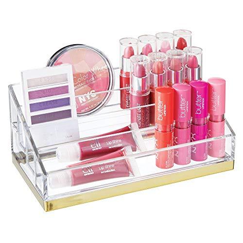 mDesign praktischer Kosmetik Organizer – dekorative Kosmetik Aufbewahrungsbox für Nagellack und Puder – Ablage mit 4 Fächern zur Schminkaufbewahrung – durchsichtig und messingfarben