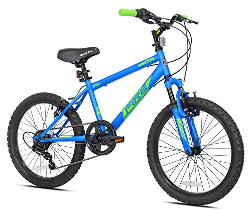 """Get All That Kid Power to The Ground and Provide Great Traction with Fun and Sturdy 20"""" Boys',Crossfire Bike,Twist Shift 6-Speed Drivetrain,Front Shock,Knobby Off Road Tires,Blue,for Ages 8-12"""