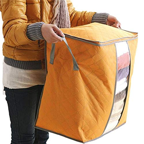 Bolsa organizadora de almacenamiento de ropa de gran capacidad con asa reforzada, tela gruesa para edredones, mantas, ropa de cama, plegable con cremallera resistente, ventana transparente (naranja)