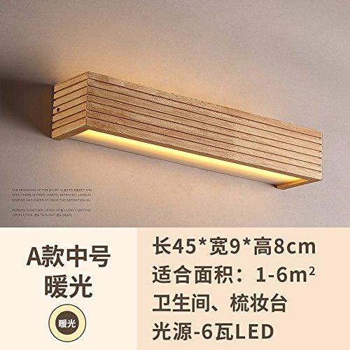 YU-K Creatieve houten wandlamp rechthoekig ronde badkamerspiegel in de voorste trappenhuis gang wandlamp bedlampje 45 cm warm licht
