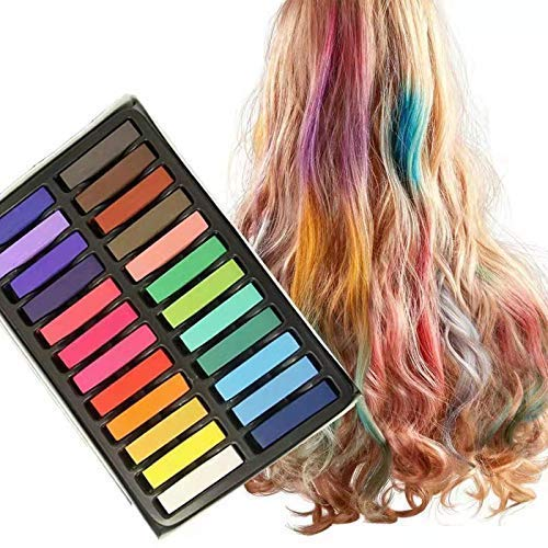 Hair Chalk Set for Kids and Pets Temporary Dog Hair Dye With Disposable Gloves and Cape,Mordely 24 Colors Washable Hair Dye Art,Best Gift for Party,Halloween,Birthday,New Year,Easter & Cosplay Makeup