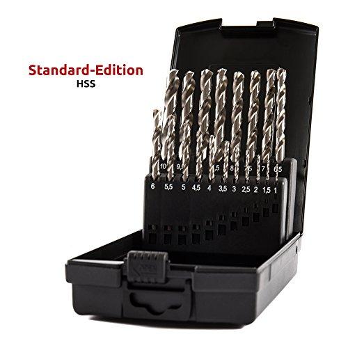 STIER Spiralbohrer Set HSS-G, 19-teilig, Metallbohrer Satz, Stahlbohrer Satz, alle gängigen Größen, Anwendungsbereiche Stahl & Nichteisenmetalle