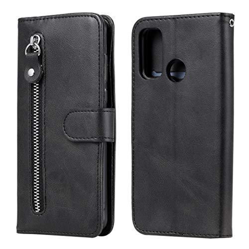 Byr883onJa Funda protectora para Huawei P Smart 2020 Moda Textura de becerro Cremallera Horizontal Flip Funda de cuero con soporte y ranuras para tarjetas y función billetera Teléfono (Color: Negro)