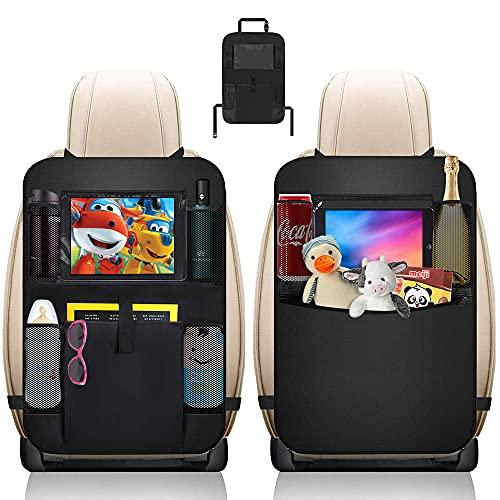 Yuragim Protezione Sedili Auto Bambini, Organizzatore Sedile Posteriore Auto, Proteggi Sedile Organizzatore Organizer Auto Bambini Organizer Sedile Auto per Auto e Modelli SUV Impermeabile Nero 2Pezzi