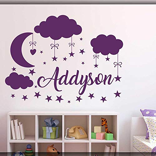 Custom Name Wall Sticker Cloud Moon Star Wall Decal Baby Bedroom Decoration Personalized Name Vinyl Children Room Mural-53x42cm