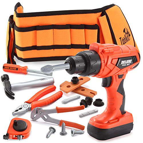 JOYIN 19 PC Tool Belt Toys Construction Tool Toy Set Kids Realistic Construction Tool for Construction Pretend Play with Electric Power Drill and Construction Tool Accessories