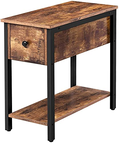 Mesa auxiliar de madera, mesa de sofá de 2 niveles con cajón y estante de almacenamiento, estructura de metal, mesita de noche estrecha para espacios pequeños, marrón rústico ( Color : 1pc )