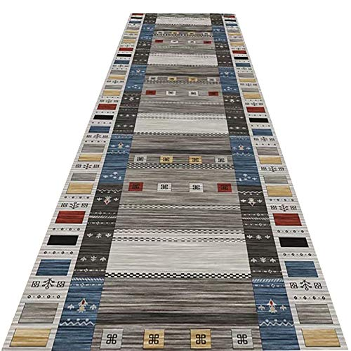 MYL Vintage Grey Hallway Runner Rug with Rubber Backing, Distressed Area Rug Kitchen Entryway Floor Carpet - 60cm/80cm/90cm/100cm/120cm/140cm Wide (Size : 90×200cm)
