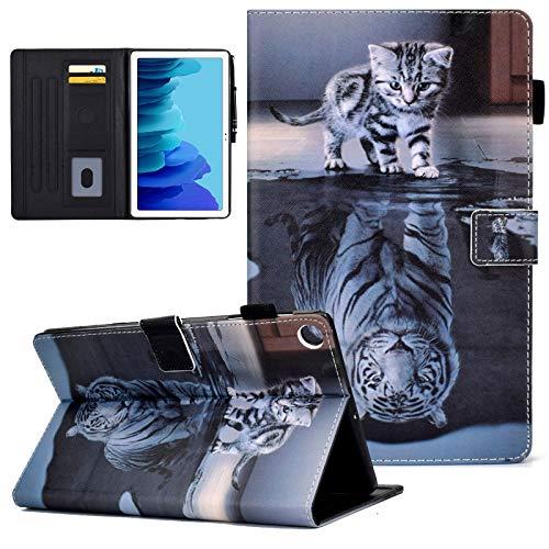 KEROM Hülle für Samsung Galaxy Tab A7 Hülle 10.4 Zoll 2020 (SM-T500/T505/T507), Samsung Tab A7 Hülle, PU Leder Stoßfest Schutzhülle mit Stand, Smart Cover für Galaxy Tab A7 Hülle, Katze & Tiger