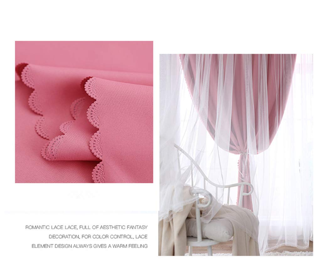 Blue, 52x63 Yancorp Blackout Curtains for Bedroom Living Room Darkening Pink Curtain White Sheer Window Linen Tie Backs Drapes Star Cutout Kitchen Gray Blue Purple 84 inch 96