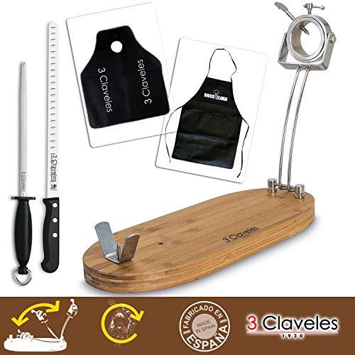 Bricolemar Kit Soporte jamonero Giratorio, Plegable + Cuchillo jamonero, chaira y Cubre Jamon 3 Claveles + Delantal Negro Kabra de Regalo