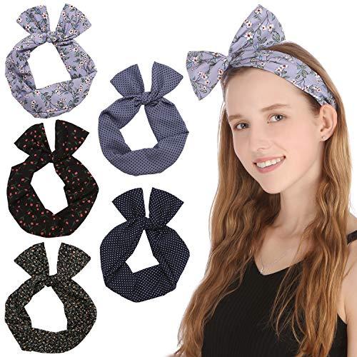 Sea Team Twist Bow Bandeaux Filaires Écharpe Wrap Cheveux Accessoire Hairband (5 Packs)