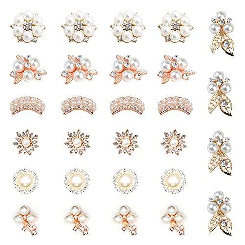 HOSTK 28pc DIY Strass Perle Boutons Broche Ronde Flatback Brillant Clair Divers style pour Fleur Vêtements Gâteau bandeaux Carte Bijoux Making Gift