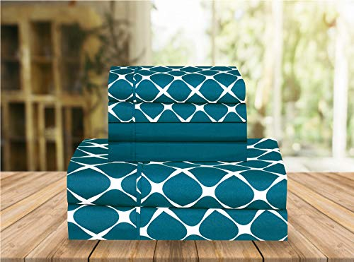 Elegant Comfort Luxury Soft Bed Sheets Bloomingdale Pattern 1500 Thread Count Percale Egyptian Quality Softness Wrinkle and Fade Resistant (6-Piece) Bedding Set, Queen, Teal