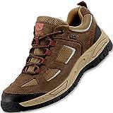 Zapatos de Seguridad Hombre Anti-Piercing Antideslizante Ligero Transpirable Zapatos con Puntera de Acero,Marrón,EU42