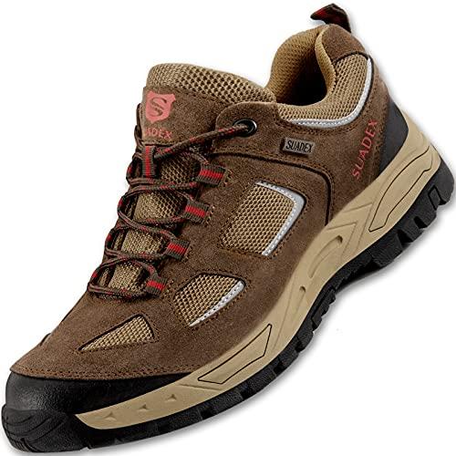 SUADEX Sicherheitsschuhe Herren Leichte Atmungsaktiv Arbeitsschuhe rutschfeste Stahlkappenschuhe Antistatisch Schutzschuhe Schuhe,Braun,EU45