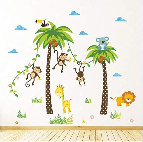 Newberli Animaux Lion Girafe Cheeky Singe Swing Arbre De Noix De Coco Stickers Muraux Pour Enfants Enfants Chambre Affiche Home Decor Nursery Decal