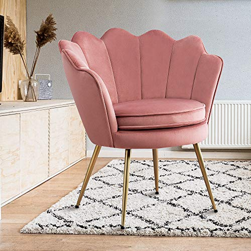 Modern Upholstered Accent Chair Pink, Living Room Leisure Velvet Accent Chair with Golden Metal Legs, Makeup Vanity Chair Single Sofa Chair, Comfy Reading Club Arm Chair for Desk, Bedroom, Office