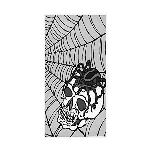 LREFON Toallas Araña de Halloween en cráneo Humano con Estampado de telaraña para la Ducha,Toallas de baño,Deportes al Aire Libre