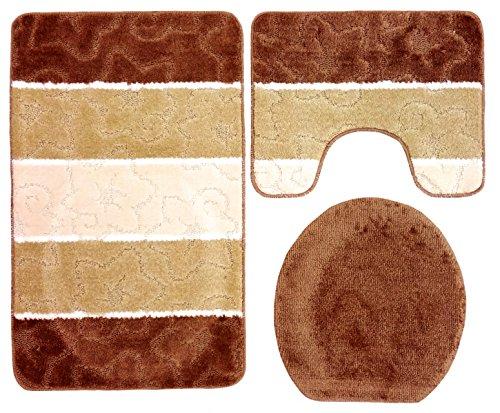 Ilkadim Orion Badgarnitur 3 TLG. Set 60x100 cm, farbig gestreift, WC Vorleger mit Ausschnitt für Stand-WC (braun beige Creme)