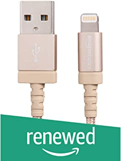 (Renewed) AmazonBasics Nylon Braided USB A to Lightning Compatible Cable - Apple MFi Certified - Gold (6 Feet/1.8 Meter)