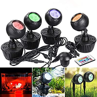 GreenSun Upgrade Pond Light with Remote Controller,10W RGB Color Changing LED Underwater Spot Lights for Garden/Aquarium/Fish Tank/Pathway(Set of 4 Lights)