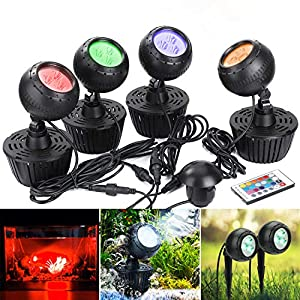 GreenSun Upgrade Pond Light with Remote Controller,10W RGB Color Changing LED Underwater Spot Lights for Garden/Aquarium…