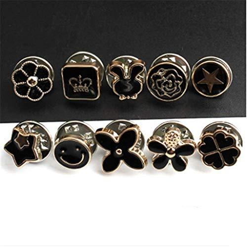 Donkere gesp 10 Pack no-Stitch gesp Nail gesp Shirt Anti-Walk licht gesp Cardigan kraag Broche decoratieve knop