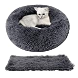Legendog Cat Bed for Indoor Cats, Warm Cute Cat Bed for Kittens, Cat Bed Round Faux Fur Cat Bed, Anti-Slip Cat Cushion Bed with Soft Pet Blanket