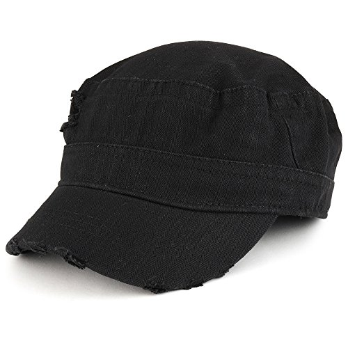 Frayed Herringbone Textured Elastic Band Army Style Cap - Black