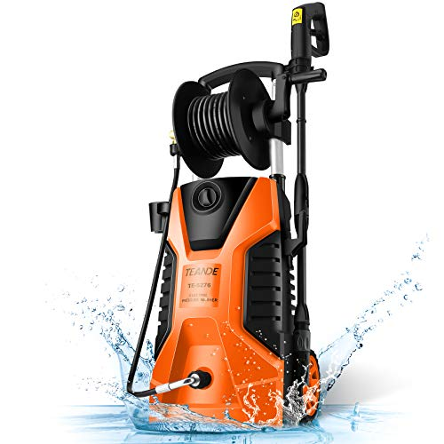 TEANDE 3800PSI Electric Pressure Washer 2.8GPM Power Washer 1800W High Pressure Cleaner Machine with All in One Adjustable Nozzle Soap bottle, Best for Cleaning Cars, Homes, Driveways, Patios (Organe)