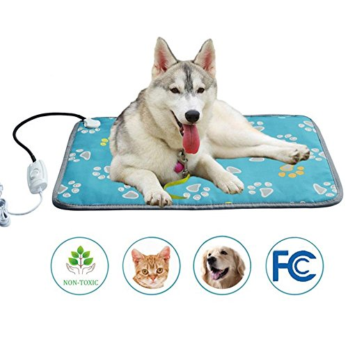 KOBWA Pet Heating Pad Large, Indoor Electric Heat Dog Cat Pad with Temperature Controller, Waterproof Pet Heating Mat with Overheat Protection, Heater Warmer Mat Bed Blanket with Anti-chew Steel Cord