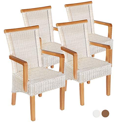 casamia Esszimmer-Stühle-Set mit Armlehnen 4 Stück Rattanstuhl weiß Perth mit/ohne Sitzkissen Leinen weiß Farbe ohne Sitzkissen
