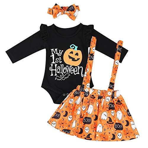 IEFIEL Bébé Filles Garçons Costume Halloween Citrouille Barboteuse Tops & Leggings Bonnet Vêtements Déguisement Tenues 0 Mois - 5 Ans (3-6 Mois, Noir 3pc)