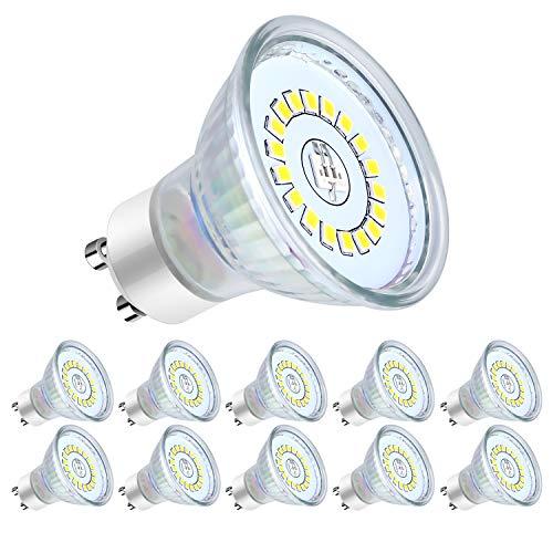 Lampadine LED GU10, 5Watt Pari ad alogene da 50Watt, 560 lumen, Luce Bianca Naturale 4500K, Angolo del Fascio di 120 Gradi, Lampadine LED Non Dimmerabili, Confezione da 10