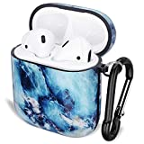 GOLINK Case for Airpods,Marble Series Protective Shockproof TPU Gel Case with Printing for Airpods 1st/2nd Charging Case(Blue Marble)