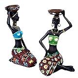 Amity 2 piezas figuras africanas escultura, candelabro para mujer, estatua tribal de la señora decor...