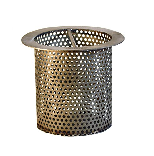 4' Commercial Floor Drain Strainer, 4' Tall, Perforated Stainless Steel