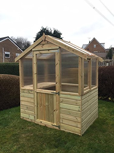 Pinelap 4x6 Wooden Greenhouse Tanalised T&G Shiplap With Glazing.