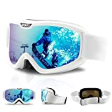 DUDUKING Gafas de esquí, Lente de Doble Capa Protección UV Antiniebla OTG Gafas de Snowboard Ideal para Esquí, Patinaje, Motociclismo, Equitación para Hombre Mujer Adultos