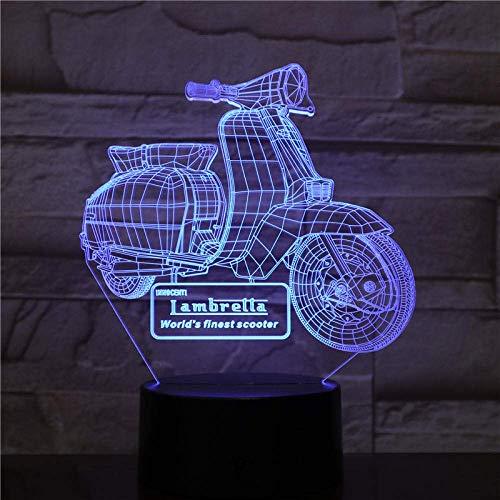 Lámpara de ilusión 3D Luz de noche LED Motocicleta Scooter 7 colores Lámpara de mesa remota táctil USB Decoración de fiesta en casa Regalo de Navidad para niños Lava