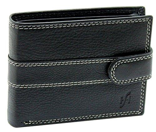 STARHIDE heren designer luxe hoge kwaliteit zwart lederen portemonnee met ID-kaart & muntzak - wordt geleverd in een geschenkdoos - 1120