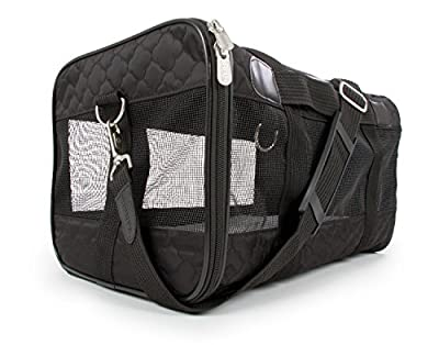 Sherpa Travel Original Deluxe Airline Approved Pet Carrier,Small, Black Lattice Stitching