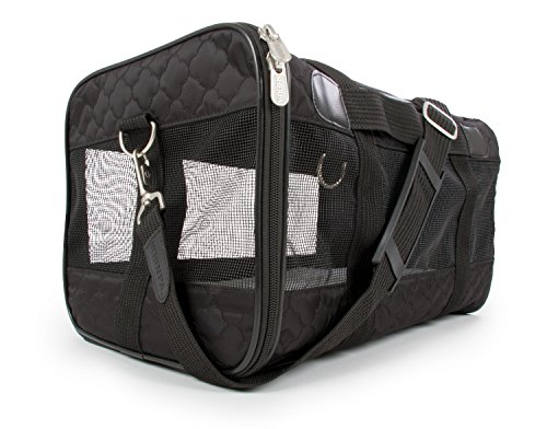 Sherpa, Original Deluxe Travel Pet Carrier, Airline Approved, Padded, Washable, with Carrying Strap, Mesh Windows, Safety Locks, Spring Frame, Black Lattice, Small