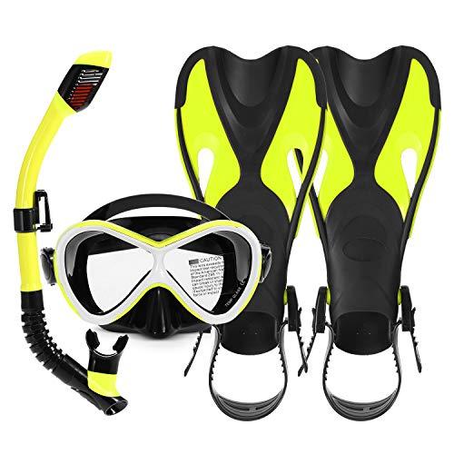 Goliraya Kit de Snorkel para niños de 3 Piezas Gafas de natación Tubo de Snorkel seco Aletas Ajustables