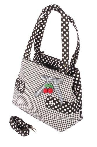 SugarShock Gingham Uniform Polka Dots rockabilly RETRO Kirschen Handtasche Tasche