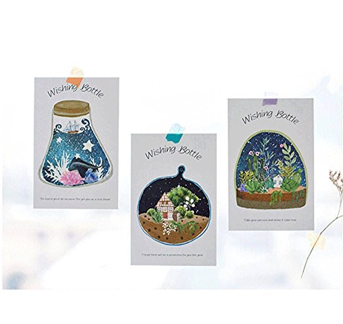MONOMONO-30 pcs set cartoon wishing bottle postcard greeting card fluorescent postcards