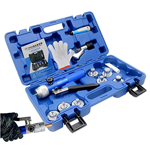 iGeelee Copper Tube Expander IG-300A Hydraulic Tube Swaging & Expanding Tool Kit Range 3/8' to 11/8' (7 Head Kit) (IG-300A)