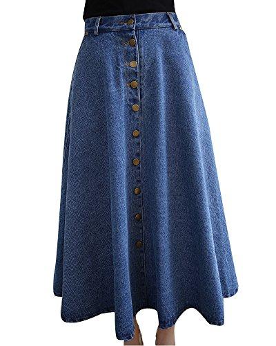 Donna Gonna di Jeans Lunga Vita Alta A-Line Gonna Lunga Plissettata Azzurro Chiaro M